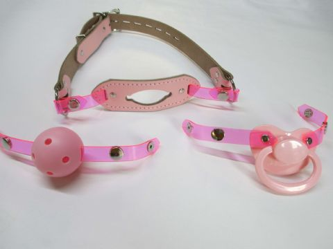 Candy Pink Leather Changeable Front Paci/Breathable ball/Insert Gag